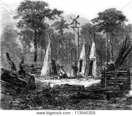 The Ardennes, Logging camp, vintage engraved illustration. Magasin Pittoresque 1873.