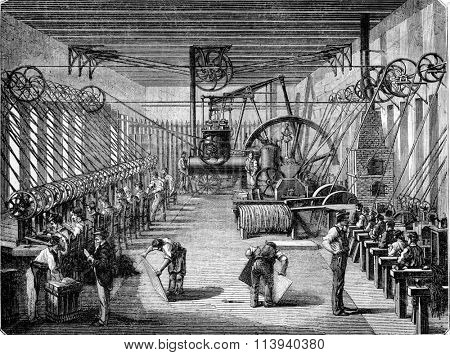 Capsulerie Bayonne, interior view, vintage engraved illustration. Magasin Pittoresque 1873.