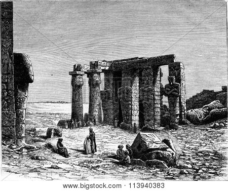 Ruins of the Ramesseum at Thebes, vintage engraved illustration. Magasin Pittoresque 1873.