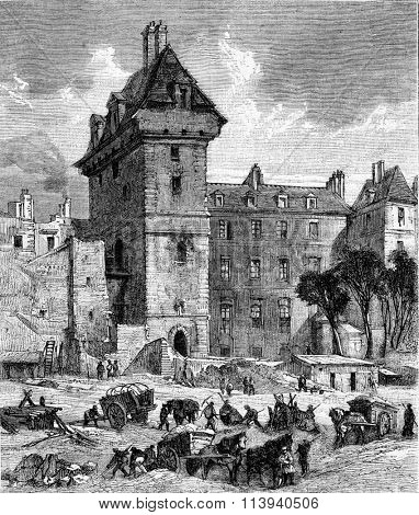 The Tower of John the Fearless, Rue aux Ours and rue Tiquetonne in Paris, vintage engraved illustration. Magasin Pittoresque 1873.