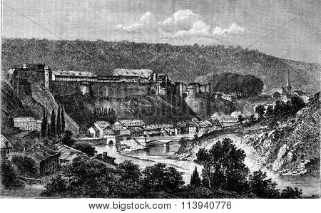 General view of Bouillon, Belgium, vintage engraved illustration. Magasin Pittoresque 1873.