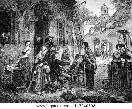 1870 Exhibition of Painting, How the map is paid for, vintage engraved illustration. Magasin Pittoresque 1870.