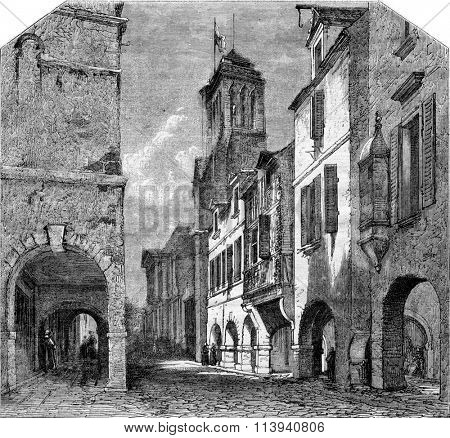La Rochelle, Street Bishopric and the cloister St. Bartholomew, vintage engraved illustration. Magasin Pittoresque 1873.