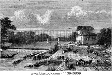 Dam on the Seine at Suresnes, vintage engraved illustration. Magasin Pittoresque 1873.