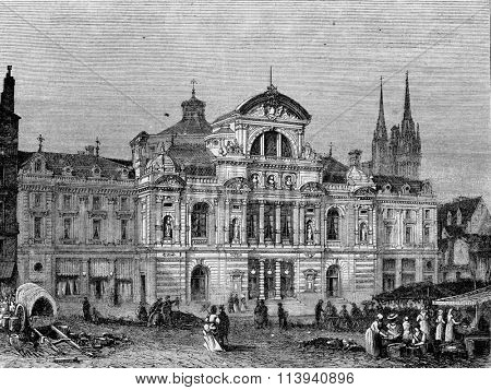 New Theatre of Angers, vintage engraved illustration. Magasin Pittoresque 1873.