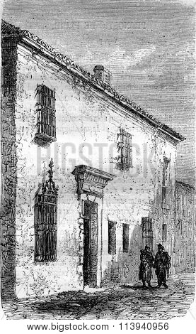 House or Michel Cervantes was imprisoned in Argamasilla de Alba, vintage engraved illustration. Magasin Pittoresque 1870.