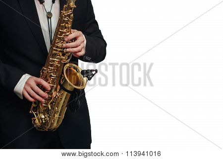 Saxophone player man isolated white background