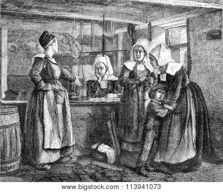 A Big deal, vintage engraved illustration. Magasin Pittoresque 1870.