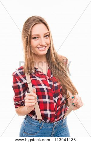 Portarit Of Happy Young Girl With Suspenders