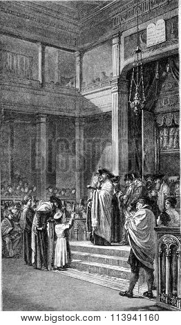 1869 Exhibition of Painting, A Jewish Ceremony by Brandon, vintage engraved illustration. Magasin Pittoresque 1870.