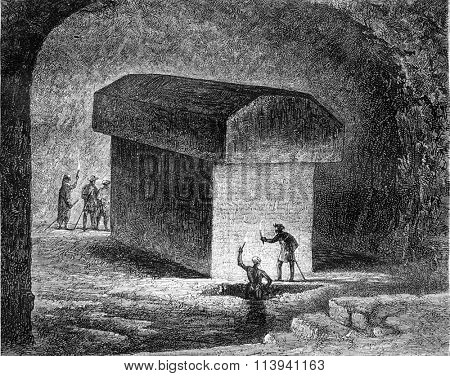 Tomb of an Apis ox in the Serapeum of Memphis, vintage engraved illustration. Magasin Pittoresque 1870.