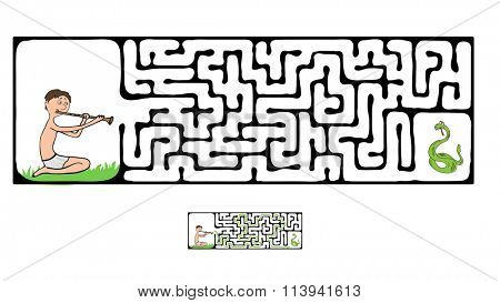 Maze, Labyrinth with Snake and Fakir