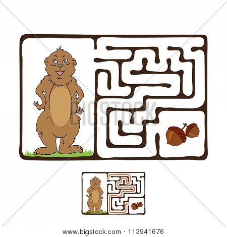 Maze, Labyrinth with Marmot and Nut.