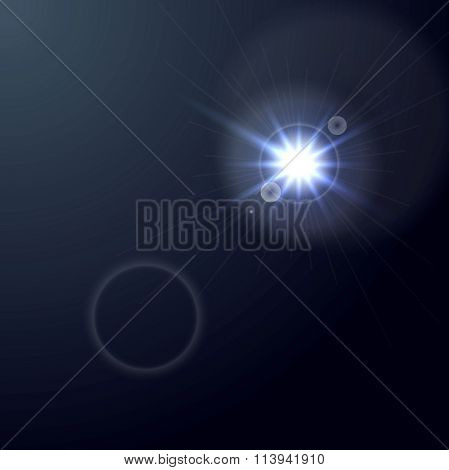 Shiny light lens flare on dark blue background. Vector glow star graphic design