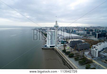 LISBON, PORTUGAL - CIRCA DECEMBER 2015: Vasco da Gama Tower, Lisbon, Portugal