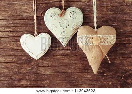 Various heart on wood