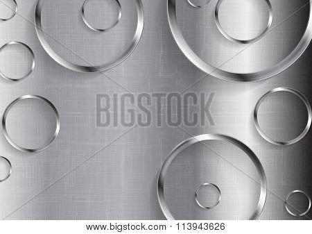 Metal tech abstract texture with circles. Vector technology background