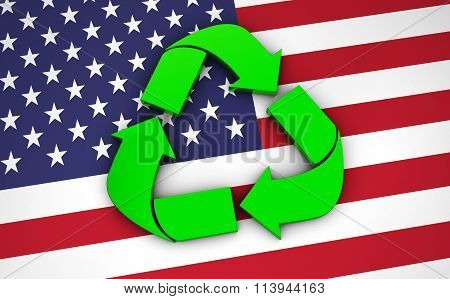 Recycling Symbol On Usa Flag