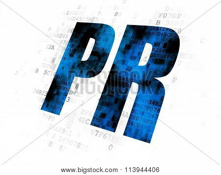 Advertising concept: PR on Digital background