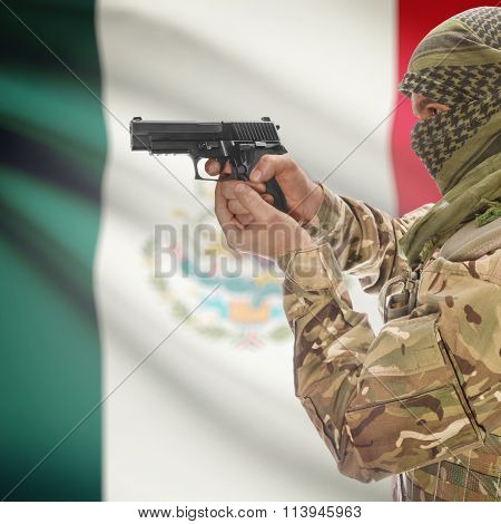 Male With Gun In Hand And National Flag On Background - Mexico