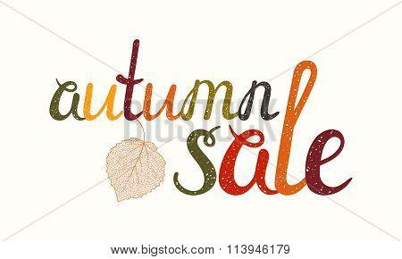 Autumn sale inscription with birch leaf.