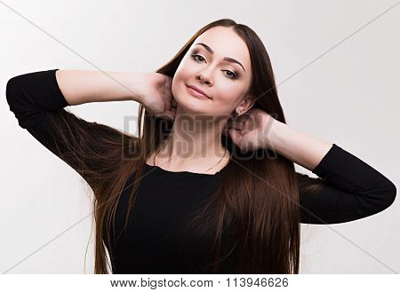 Emotion series of young and beautiful ukrainian girl - dreaming  and happyness