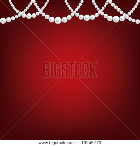 Pearl necklace on red