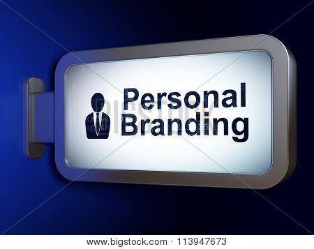 Advertising concept: Personal Branding and Business Man on billboard background