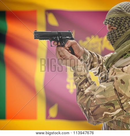 Male In With Gun In Hand And National Flag On Background - Sri Lanka