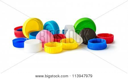 colorful bottle caps isolated on white background