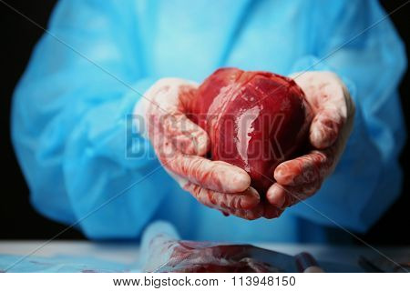 Doctor holding heart in her hands