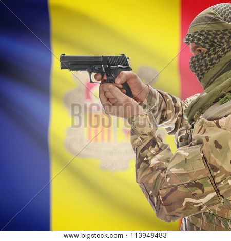 Male In With Gun In Hand And National Flag On Background - Andorra
