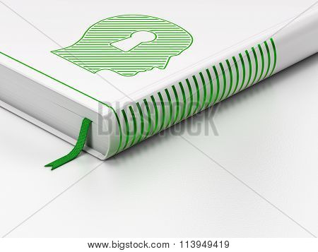 Advertising concept: closed book, Head With Keyhole on white background