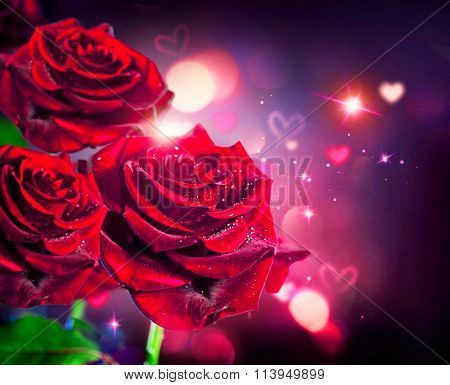 Roses and Hearts background. Valentine or Wedding Card design. Beautiful red roses bouquet over red blurred background. Flowers background. St. Valentine's Day roses art design