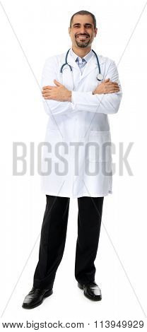 Portrait of a doctor isolated on white background