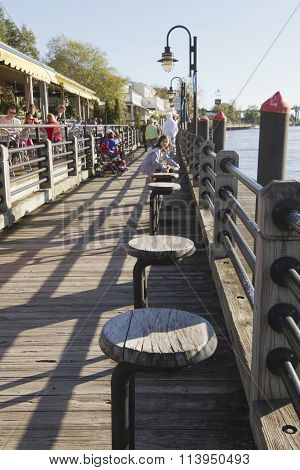 Tourist Attraction Water Street Boardwalk In Wilminton, Nc