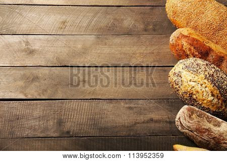 Bread on wooden background