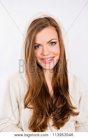 Beautiful Young Girl Smiling In Dressing-gown