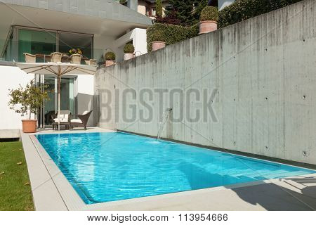 Architecture, modern house, beautiful terrace with pool