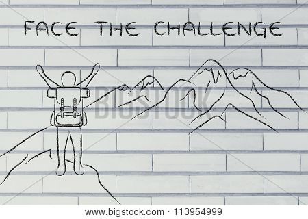 Happy Man Reaching The Top Of A Mountain, With Text Face The Challenge