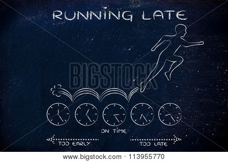 Man Running On Clocks, With Text Running Late