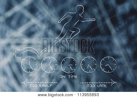 Person Running On Clocks Trying To Be On Time