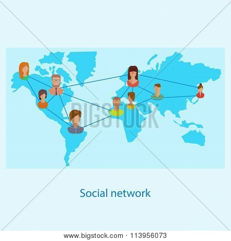 Social network on-line concept for web and infograp