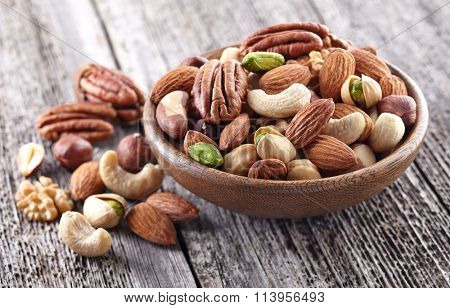 Nuts mix on a wooden background
