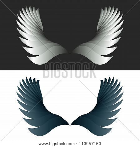 Angel Wings Black And White Fantasy Decoration Design Element