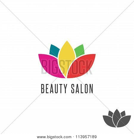 Lotus Logo Flower Colorful Beauty Salon Emblem Mockup, Floral Oriental Abstract Sign Yoga