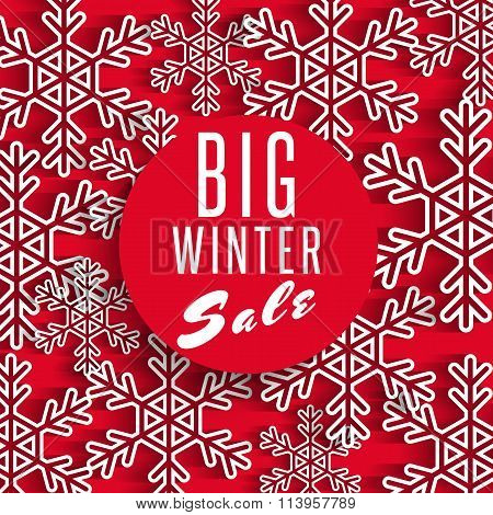 Big Winter Sale Poster Red Background, Discount Advertising Promotion Stock Shop Banner, White Snowf