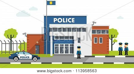 Police station building isolated on white background