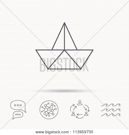 Paper boat icon. Origami ship sign.