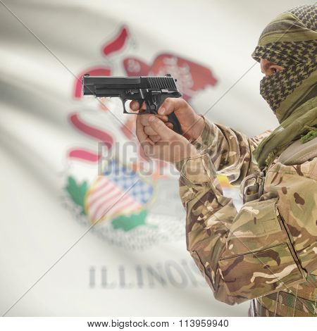 Male In With Gun In Hand And Flag On Background - Illinois